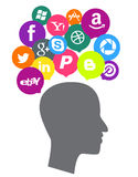 Social media icons with head Royalty Free Stock Photography