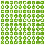 100 social media icons hexagon green. 100 social media icons set in green hexagon isolated vector illustration Stock Photo