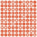 100 social media icons hexagon orange. 100 social media icons set in orange hexagon isolated vector illustration Royalty Free Stock Photo