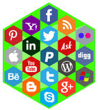 Social media icons in a hexagonal background Stock Images