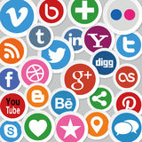 Social Media Icons. Illustration Collection of most popular social media and network buttons icons Royalty Free Stock Photo
