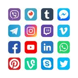 Social media icons. Inspired by facebook, instagram and viber, youtube. Popular media vector web network buttons. Illustration of logo for message app and vector illustration