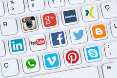 Social media icons like Facebook, YouTube, Twitter, Xing, Whatsa. Berlin, Germany - April 7, 2015: Collection of logos of social media network like Facebook Stock Image