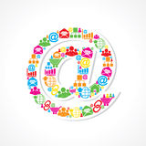 Social media icons make email sign Stock Photo