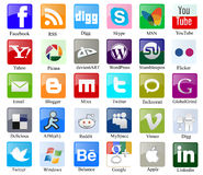 Social media icons with names Stock Images