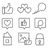 Social media icons. Nice social media icons on the white background. Vector illustration. Very useful Stock Photos