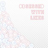 Social media icons. Obsessed with likes concept. Falling scattered thumbs up hearts. Bottom left cor. Ner elements on transparent grid background royalty free illustration