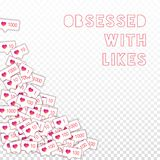 Social media icons. Obsessed with likes concept. Falling gradient like counter. Terrific bottom left corner elements on transparent grid background vector illustration