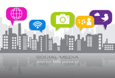 Social Media Icons Over Silhouette City Background Network Communication Connection Concept. Vector Illustration Stock Photos