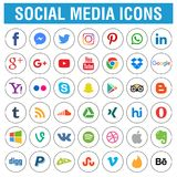 Social media icons pack round. Social media icons pack real color - flat round - vector illustration on white isolated background stock illustration