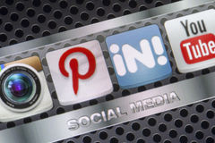 Social media icons Pinterest linkedin and other on smart phone screen close up Royalty Free Stock Photography