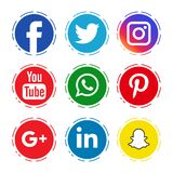 Social media icons. Popular social media icons on isolated white background - vector editable stock illustration