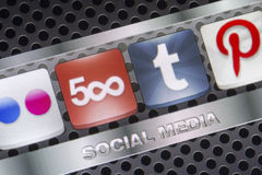 Social media icons 500px Tumbir and other on smart phone screen close up Stock Photography