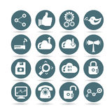 Social media icons, round buttons. Set of 16 media and network icons, round buttons stock illustration