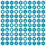 100 social media icons sapphirine violet. 100 social media icons set in sapphirine hexagon isolated vector illustration Royalty Free Stock Photo