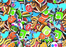 Social Media Icons. Scattered social media icons, including Blogger, RSS, Twitter, Facebook, Stumbled Upon, Pinterest, Flickr and Technorati. Useful editorial royalty free stock image