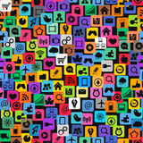 Social media icons seamless texture Stock Images