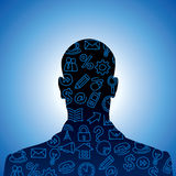 Social media icons set. Human head shape made with social media icons Stock Image