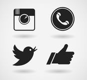 Social media icons set. Black network symbols isolated on white background. Royalty Free Stock Images