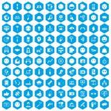 100 social media icons set blue. 100 social media icons set in blue hexagon isolated vector illustration stock illustration