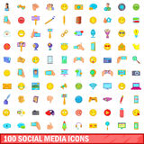 100 social media icons set, cartoon style Stock Photos