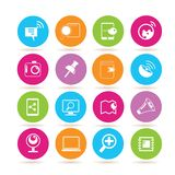 Social media icons. Set of 16 social media icons in colorful buttons stock illustration