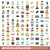 100 social media icons set, flat style Stock Photos