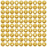 100 social media icons set gold. 100 social media icons set in gold circle isolated on white vector illustration Stock Images