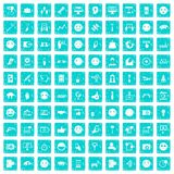 100 social media icons set grunge blue. 100 social media icons set in grunge style blue color isolated on white background vector illustration Stock Images