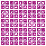 100 social media icons set grunge pink. 100 social media icons set in grunge style pink color isolated on white background vector illustration Stock Image