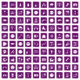 100 social media icons set grunge purple. 100 social media icons set in grunge style purple color isolated on white background vector illustration Stock Photo