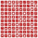 100 social media icons set grunge red. 100 social media icons set in grunge style red color isolated on white background vector illustration Royalty Free Stock Images