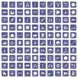100 social media icons set grunge sapphire. 100 social media icons set in grunge style sapphire color isolated on white background vector illustration Royalty Free Stock Photos