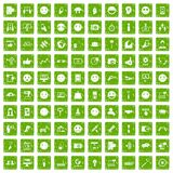 100 social media icons set grunge green. 100 social media icons set in grunge style green color isolated on white background vector illustration Stock Image