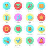 Social media icons set with inscriptions. Icons with long shadow effect in stylish colors of web design objects and social media signs. isolated on white Stock Photos