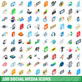 100 social media icons set, isometric 3d style Royalty Free Stock Photography