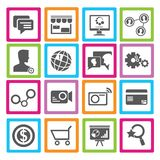 Social media icons. Set of 16 social media icons, social network buttons stock illustration