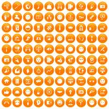 100 social media icons set orange. 100 social media icons set in orange circle isolated on white vector illustration vector illustration
