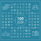 100 social media icons set. Over blue background vector illustration
