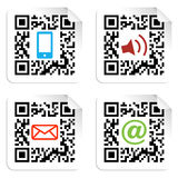 Social media icons set with QR code sign label. Stock Photos