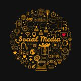 Social Media icons set. Vector hand drawn isolated objects. Doodle and sketch style Royalty Free Stock Photos