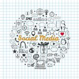 Social Media icons set. Vector hand drawn  objects. Doodle and sketch style Stock Photos
