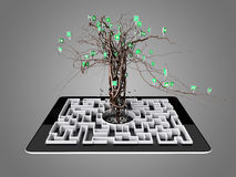 Social media icons set in tree shape on Maze in the tablet. Royalty Free Stock Photos