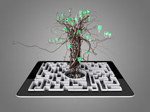 Social media icons set in tree shape on Maze in the tablet. Concept Stock Photography