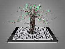 Social media icons set in tree shape on Maze in the tablet. Concept Stock Image