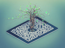 Social media icons set in tree shape on Maze in the tablet. Royalty Free Stock Images
