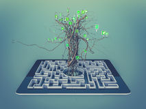 Social media icons set in tree shape on Maze in the tablet. Royalty Free Stock Image