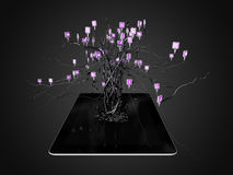 Social media icons set in tree shape on Modern black tablet pc. Stock Photography