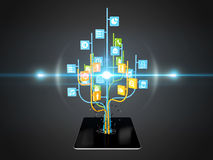 Social media icons set in tree shape on Modern black tablet pc Stock Photo