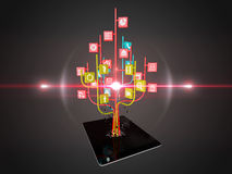 Social media icons set in tree shape on Modern black tablet pc Royalty Free Stock Photo